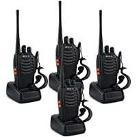 Retevis H-777 Two Way Radio UHF 400-470MHz 16CH Flashlight Walkie Talkies with Earpiece(4 Pack)