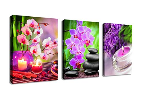 yearainn Zen Canvas Wall Art SPA Pictures Stone Green Bamboo Pink Waterlily Painting- 3 Pieces Modern Artwork Canvas Prints for Home Office Kitchen Framed Ready to Hang