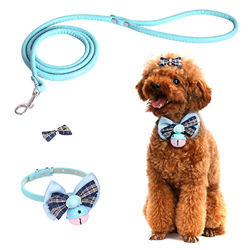 Jingle Bows - Pawaboo Pet Collar Set, [3 PCS] Dog Cat Puppy Bowknot Adjustable Bow Tie + Dog Leash + Hair Clip Decoration Accessories, with Jingle Bell, Small Size, Light Blue