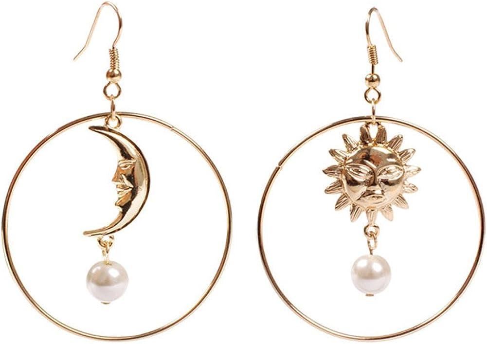 18K chapado en oro irregular luna y estrella con imitación perla insertar mujeres grandes pendientes colgantes redondos