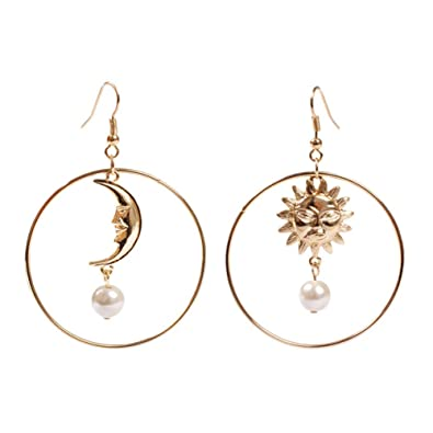 1157e4665 Image Unavailable. Image not available for. Color: 18K Gold Plated  asymmetric Moon and star With imitation Pearl Insert Women big Round dangle  Earrings