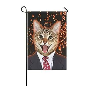 your-fantasia Cute Cat Wearing negocios suit Patio jardín bandera 12x 18pulgadas