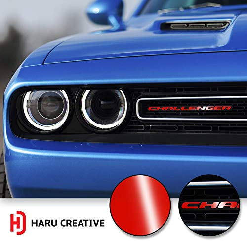 Haru Creative - Front Grille Hood Emblem Badge Nameplate Overlay Vinyl Decal Sticker Compatible with and Fits Dodge Challenger 2015 2016 2017 2018 - Gloss Red