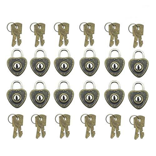 GTANG- 12Pcs Vintage Mini Heart Shaped Padlocks ,Heart Lock, Antique Brass (with 24 Mini Keys)