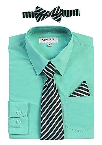 Microfiber Kids Shirt - Gioberti Boy's Long Sleeve Dress Shirt and Stripe Zippered Tie Set, Mint B, Size 5