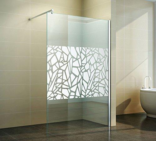 Walk in Duschabtrennung | Scherben-Design | Spiegel | Duschwand | Dusche  Glas | freistehend Seitenwand | Nano Beschichtung | Apperl-Effekt | ...
