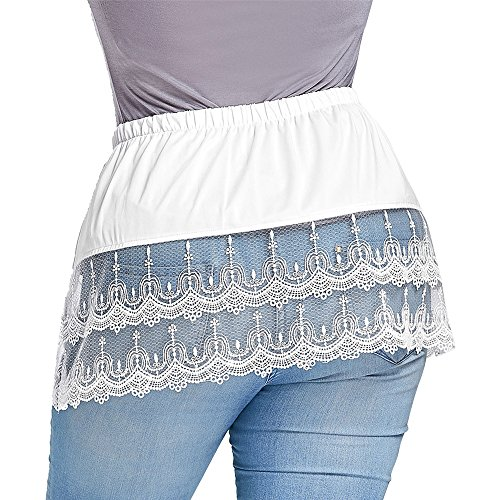 25b86b78ee GAMISS Women's Layered Skirt Extender Tiered Sheer Lace Trim Extender Half  Slips Plus Size at Amazon Women's Clothing store: