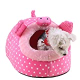 Jocestyle Pet Hamster Cotton Hammock Plush Hammock Hanging Tree Bed Nest Small Animal House Rabbit Mice Squirrel Toy House (S, Brown) (L, Pink)