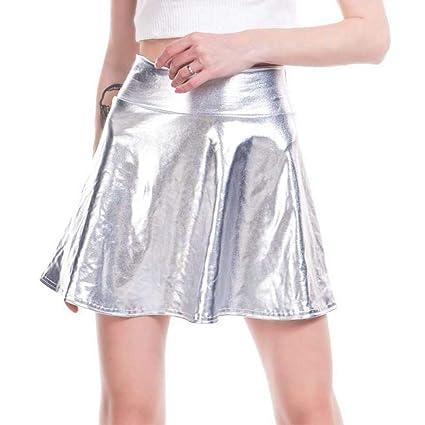 QBXDQ Falda Corta Falda Holográfica Plateada para Mujer Brillo ...