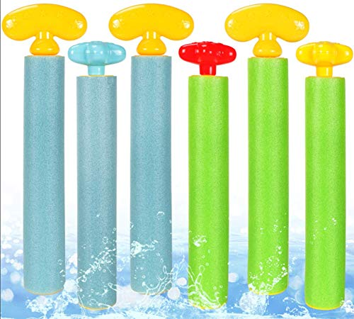 6 Pack Large Water Blaster Toys Foam Water Guns for Kids Summer Super Shooter Soaker Beach Swimming Pool Toys Outdoor Games for Kids Adults