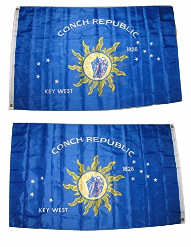West Tin (3X5 Key West Conch Republic 1828 2 Faced Double Sided 2-Ply Polyester Flag)