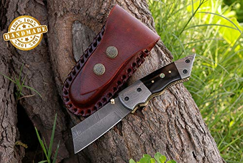 AJ Blade Custom Handmade Damascus Steel Folding Knife - Stunning Buffalo Horn Handle with Damascus Bolsters. Knife can vary slightly; AJ-119