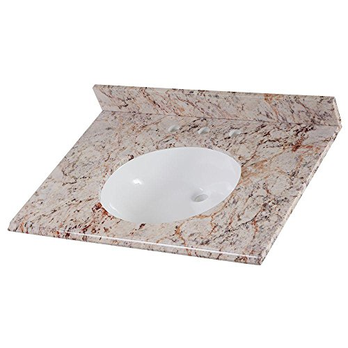 Home Decorators Collection 31 in. Stone Effects Vanity Top in Rustic Gold with White Basin