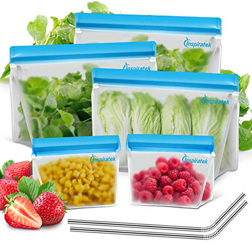 Reusable Storage Bags (Stand-Up EXTRA THICK Set of 5) + Stainless Steel Straws, BPA Plastic Free Leakproof Ziplock Food Baggies, Bag for Sandwich Snack or Kids Lunch, Freezer Safe Zip Top Containers