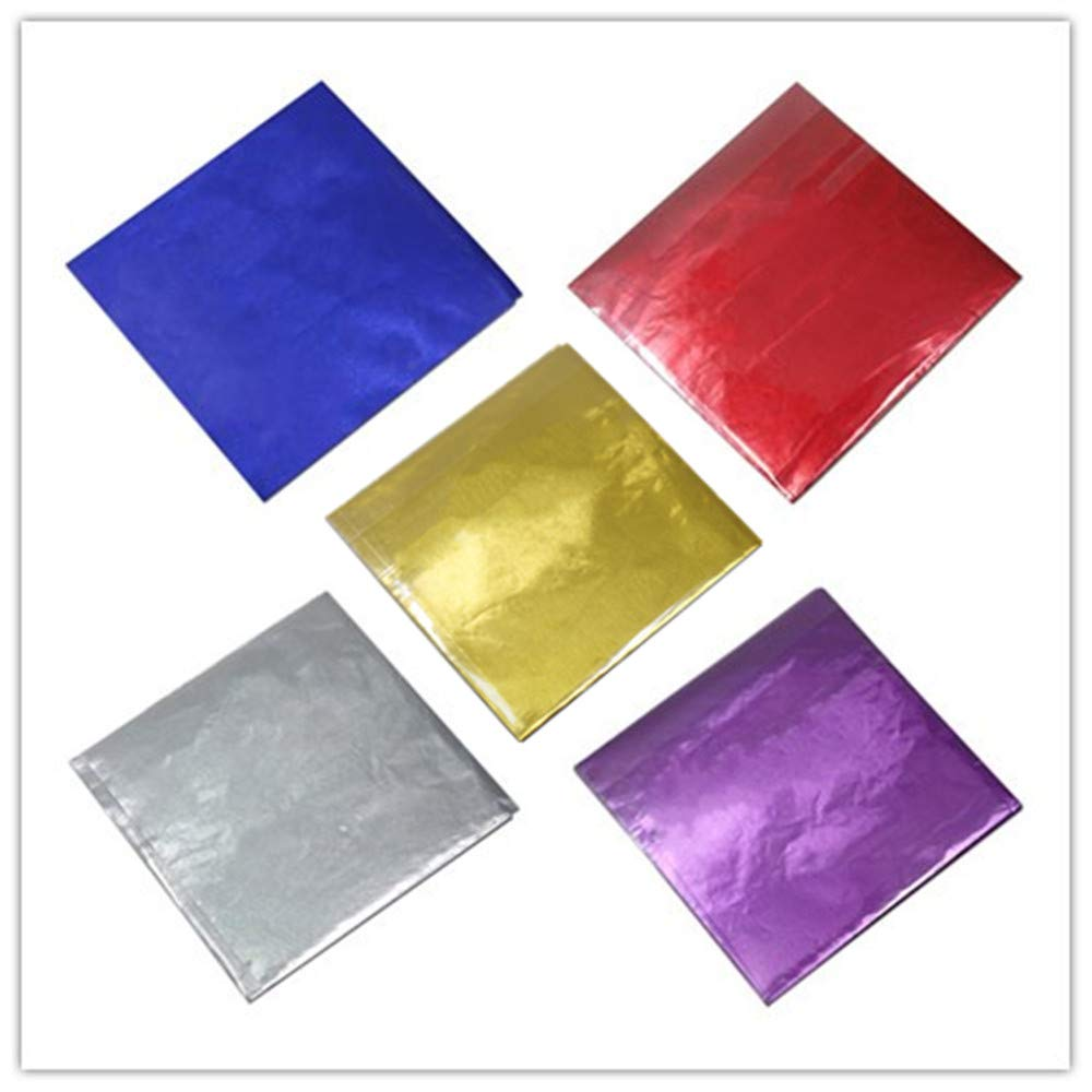 500 Pcs 5 Colors Chocolate Candy Wrappers Aluminium Foil Paper Wrapping Papers Square Sweets Lolly Paper Food Safety Candy Tin Foil Wrappers for Candy Packaging Decoration (4''x4'')