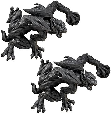 Design Toscano Slither and Squirm Gargoyle Wall Sculpture Set of 2 , Gray