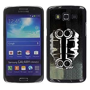 Be Good Phone Accessory // Dura Cáscara cubierta Protectora Caso Carcasa Funda de Protección para Samsung Galaxy Grand 2 SM-G7102 SM-G7105 // Car Art Black White Paint