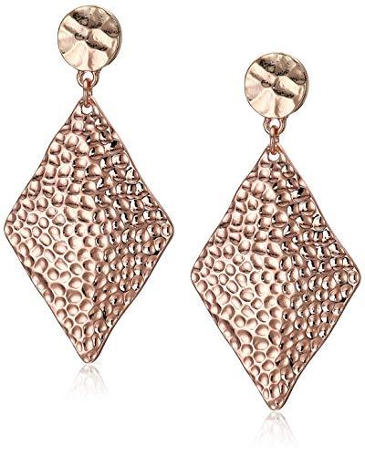 (Blush & Co. Rose Gold Diamond Shaped Earrings: Hammered Gold Earrings for Women)
