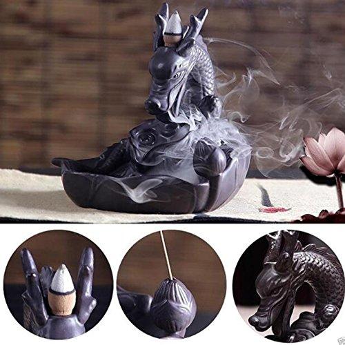 Duoying Quemador de Incienso con Forma de dragón de cerámica Hecho a Mano con decoración Budista Hogar Budista