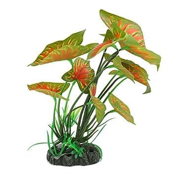 eDealMax Artificial Decoración Vivid Taro Green y hojas de Color Naranja Planta de tanque acuario