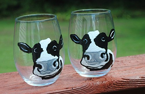 2 Dairy Cow Hand Painted Stemless Wine Glasses