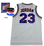 Jordan 23 Squad Space Jam Jersey Basketball Jersey Include Free Themed Wristbands (WHITE, M)