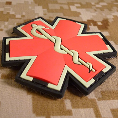 SpaceAuto Star of Life EMT EMS Cross Tactical Morale Badge Emblem Embroidery Sew on Patch Size:2.75 x 2.75