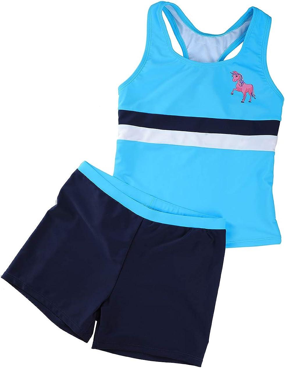 BELLOO Girls Two Piece Boyshort Tankini Sets Kids Swimsuits 14-16