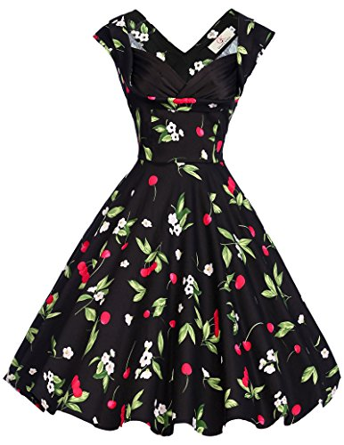 Grace-Karin-Womens-Vintage-1950s-Floral-Cut-Out-Casual-Party-Dresses