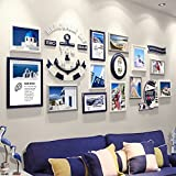 LQQGXL Modern minimalist wood photo wall combination creative decoration photo wall living room bedroom photo wall Photo frame ( Color : Navy blue )