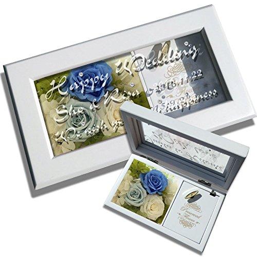 オルゴールのガラス窓にメッセージを彫刻 プリザーブドフラワー入り きらきら誕生石スワロフスキーも入ります! (ブルー) B07559LNHC ブルー ブルー