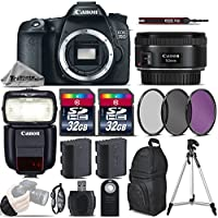Canon EOS 70D DSLR Camera + 50mm 1.8 STM Lens + Canon Speedlite 430EX III RT + 64GB Storage + Backup Battery + UV-CPL-FLD Filters + Wrist Grip Strap + Wireless Remote - International Version