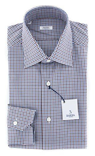 Barba Napoli Brown Checkered Button Down Spread Collar 100% Cotton Slim Fit Dress Shirt, Size Large 16.5