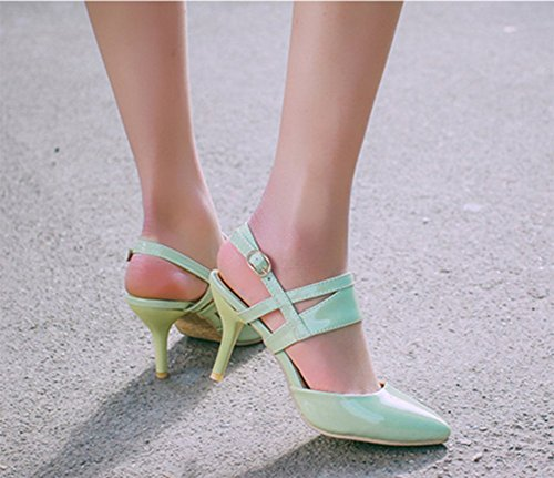 CHFSO Womens Mid Stiletto Buckle Strappy Leather Pointed Toe Dress Pumps Shoes Green JdWw5MHNxe