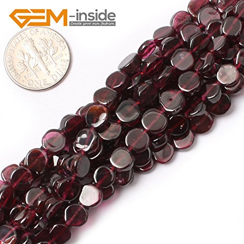 GEM-inside Garnet Gemstone Stone Beads Natural 6mm Coin Red Crystal Energy Stone Healing Power for Jewelry Making 15
