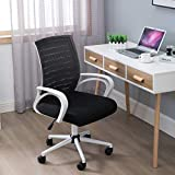 Premium Mesh Chair with Soft Padded Seat Cushion -Ergonomic Office Chair with Lumbar Support Arms Modern Swivel Rolling Task Mid Back Executive Chair for Task/Desk/Home Office Work, Black