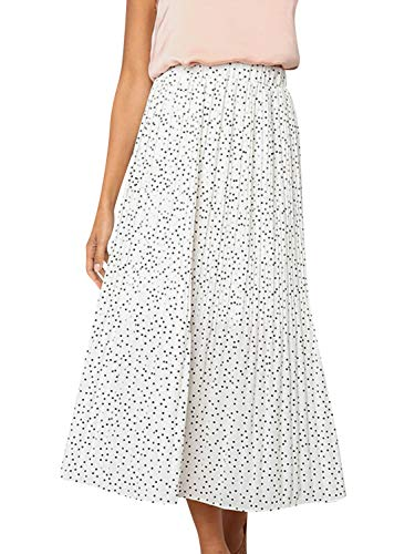 (BerryGo Women's Boho High Waist Polka Dot Floral Print Midi Skirt White)