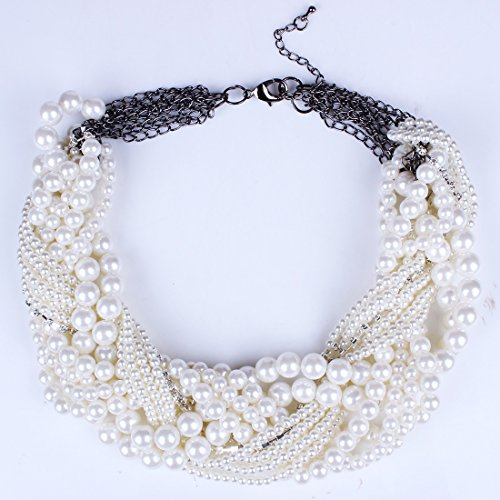 Qiyun Rond Blanc Perle De Perles Torsion Torsade De Multiples Couches Collier Tour De Cou En Collier