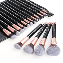 Anjou 16 Pcs Makeup Brush Set, Premium Cosmetics Brushes for Foundation Blending Blush Concealer Eye Shadow, Rose Golden