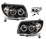 SPPC Black Projector Headlights Assembly with CCFL Halo Rings for Toyota 4 Runner - (Pair) Includes Driver Left and Passenger Right Replacement Headlamp