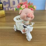 Taco Mocho Creative Cartoon Drooling Tears Pig Riding Tricycle Ornaments Resin Crafts Gift Household Living Room Tabletop Decorations
