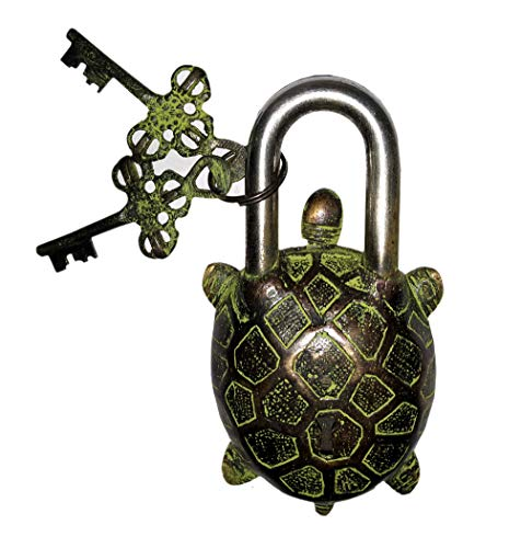 Laxman Art Turtle Shape Brass Lock Padlock, Handmade Antique Design, Unique Collectible Combination of Style & Security with 2 Keys