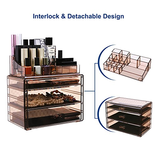 Amazoncom SONGMICS Makeup Organizer 3 Large Drawers Cosmetic