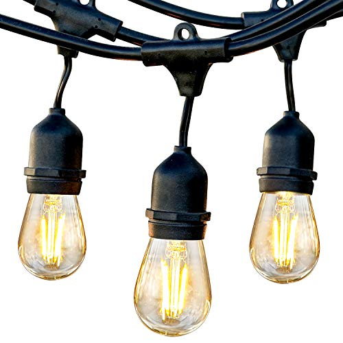 Brightech Ambience Pro - Waterproof LED Outdoor String Lights - Hanging, Dimmable 2W Vintage Edison Bulbs - 48 Ft Commercial Grade Patio Lights Create Cafe Ambience in Your Backyard- Warm White (Light Os Ein)