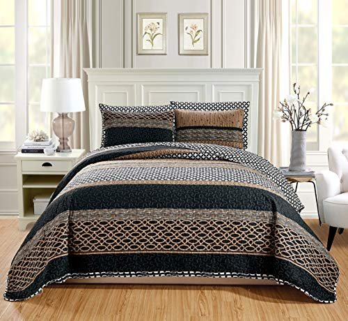 "GrandLinen 2-Piece Fine Printed Oversize (66"" X 95"") Quilt Set Reversible Bedspread Coverlet Twin/Twin XL Size Bed Cover (Black, Brown, Taupe, Beige Lattice)"