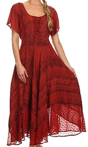 Sakkas 15323 - Mila Long Corset Embroidered Cap Sleeve Dress with Adjustable Waist - Red - S/M