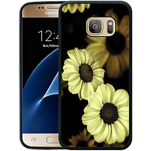 Galaxy S7 Case, Customized Black Soft Rubber TPU Samsung Galaxy S7 Case Sunflower in the dark Sales