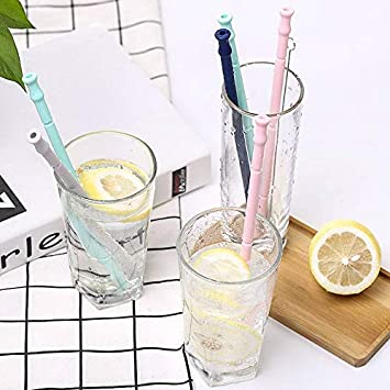 Silicone Straws Drinking Reusable Foldable Straws for Travel MISSALIS Portable 8 Collapsible Straws with 2 Cases and 3 Cleaning Brushes BPA Free 17 Pieces