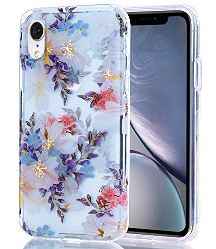 BASRKE iPhone XR Clear Case with Purple Floral Pattern [Fusion] Hard PC Back Soft TPU Bumper Raised Edge Drop Protection Cover for iPhone XR 2018 [6.1 inch]