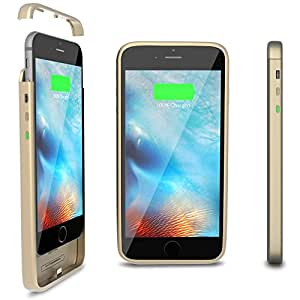 ThinCharge - World's Thinnest iPhone 6 /6S Battery Case - Ultra Slim High-Capacity 2,600mAh Battery - iPhone Portable Charging Case Protective Cover for iPhone 6 /6S (4.7 inch) [GOLD]